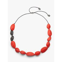 shop for One Button Resin Teardrop Long Necklace, Red at Shopo