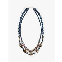 shop for One Button Beaded Double Row Necklace, Navy at Shopo