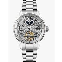 Ingersoll I07703 Mens The Jazz Skeleton Automatic Chronograph Bracelet Strap Watch, Silver