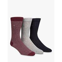 Calvin Klein Birdseye Plain Ribbed Socks, Pack Of 3, One Size, Red/grey/black