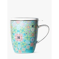 T2 Portuguese Tiles Infuser Mug With Lid, 360ml, Dusty Pink