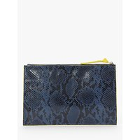 shop for Boden Large Keepsake Snake Print Leather Pouch, Navy at Shopo