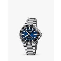 Oris 79877544135-82405PEB Mens Aquis GMT Automatic Date Bracelet Strap Watch, Silver/Blue