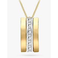 shop for IBB 9ct Gold Cubic Zirconia Curved Pendant Necklace, Gold at Shopo