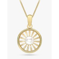 shop for IBB 9ct Gold Freshwater Pearl Sunray Pendant Necklace, Gold at Shopo