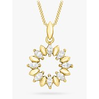 shop for IBB 9ct Gold Marquise Cubic Zirconia Ring Pendant Necklace, Gold at Shopo