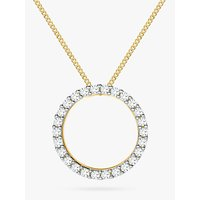 shop for IBB 9ct Gold Cubic Zirconia Circle Pendant Necklace, Gold at Shopo