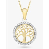 shop for IBB 9ct Gold Life Tree Cubic Zirconia Pendant Necklace, Gold at Shopo