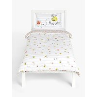 little home at John Lewis Happy Bee and Ditsy Print Reversible Duvet Cover and Pillowcase Set, Single, Multi