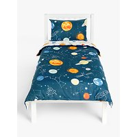 little home at John Lewis Outer Space Glow in the Dark Reversible Duvet Cover and Pillowcase Set, Single, Navy