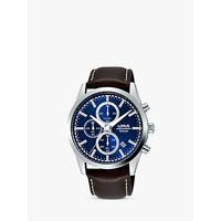 Lorus RM397FX9 Mens Chronograph Date Leather Strap Watch, Brown/Blue