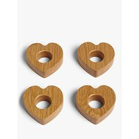 John Lewis and Partners Heart Shape Oak Wood Napkin Rings, Set of 4, Natural