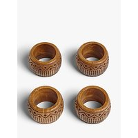 John Lewis and Partners Fusion Pattern Acacia Wood Napkin Rings, Set of 4, Natural