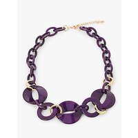 John Lewis & Partners Resin Oval Link Chain Necklace, Deep Purple