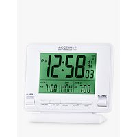 image-Acctim Delaware Couples Radio Controlled LCD Digital Alarm Clock, White