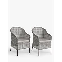 John Lewis and Partners Hoxton Garden Dining Armchairs, Set of 2, Grey