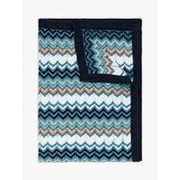John Lewis & Partners Jurassic Garden Geo Chevron Baby Blanket, 100 x 75cm, Blue