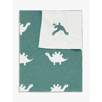 John Lewis & Partners Jurassic Garden Dinosaur Reverse Knit Pram Blanket,100 x 75cm, Green/White