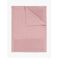 John Lewis & Partners Leckford Bunny Classic Knit Blanket, 100 x 75cm, Pink