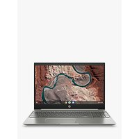 HP 15-de0000na Chromebook Laptop, Intel Pentium Gold Processor, 4G RAM, 64GB eMMC, 15.6, Silver White