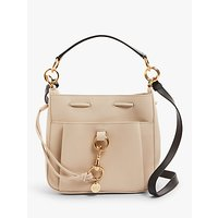 See By Chloé Toni Medium Leather Slouch Bucket Bag, Cement Beige