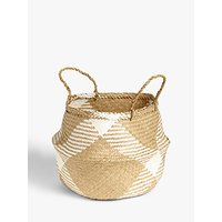 John Lewis and Partners White Pattern Seagrass Basket