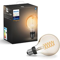Philips Hue White Ambiance Wireless Lighting 7W ES LED Dimmable Globe Filament Bulb, G93 E27