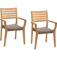 John Lewis and Partners Longstock Woven Stacking Garden Dining Armchairs, Set of 2, FSC-Certified (Teak Wood), Rattan/Natural