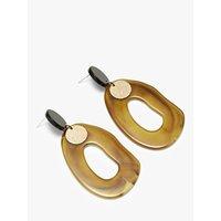 shop for John Lewis & Partners Coin Resin Statement Drop Earrings, Khaki/Black at Shopo