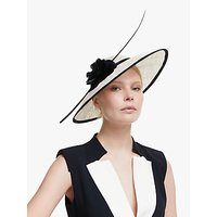 John Lewis and Partners Melissa Flower Detail Wide Brim Occasion Hat, Ivory/Black