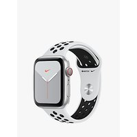 Apple Watch Nike Series 5 GPS + Cellular, 44mm Silver Aluminium Case with Pure Platinum/Black Nike Sport Band - S/M and M/L