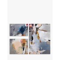 Natasha Barnes - Silent Motion Abstract Canvas Prints, Set of 3, Grey/Multi