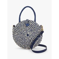 shop for John Lewis & Partners Round Paper Rafia Shoulder Bag, Neutral/Navy at Shopo