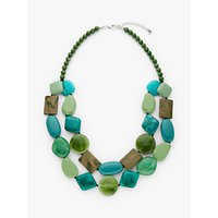 shop for One Button Double Row Layered Necklace, Sea Green/Multi at Shopo