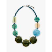 shop for One Button Beaded Statement Necklace, Sea Breeze Blue/Multi at Shopo
