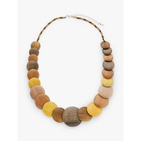 shop for One Button Round Flat Wood Bead Necklace, Chocolate/Lemon at Shopo