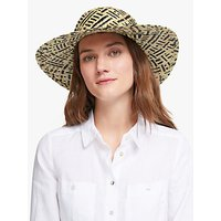 John Lewis and Partners Weave Floppy Sun Hat, Black/Natural Mix