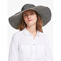 John Lewis and Partners Adjustable and Packable Stripe Floppy Sun Hat, Black/Ivory