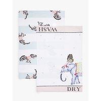 Yvonne Ellen Elephant & Zebra Tea Towels, Pack of 2, White/Multi