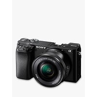 Sony A6100 Compact System Camera with 16-50mm OSS Lens, 4K Ultra HD, 24.2MP, Wi-Fi, Bluetooth, NFC, EVF, 3 Tilting Touch Screen, Black