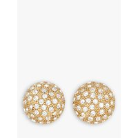shop for Eclectica Swarovski Crystal Domed Round Clip-On Earrings, Gold at Shopo