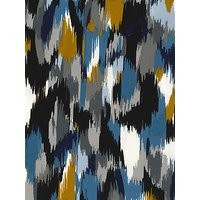 Oddies Textiles Painted Stripe Print Fabric, Blue/Mid Yellow