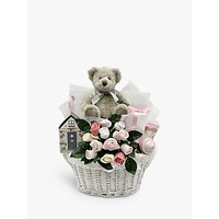 Babyblooms Bertie Bears New Baby Gift Basket, Light Pink