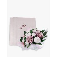 Babyblooms Luxury Baby Clothes Bouquet and Personalised Baby Blanket, Light Pink