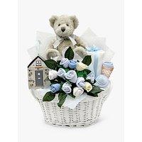 Babyblooms Bertie Bears New Baby Gift Basket, Light Blue