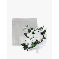 Babyblooms Luxury Baby Clothes Bouquet and Personalised Baby Blanket, Light Grey
