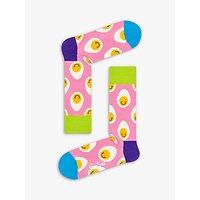 Happy Socks Smile Eggs Print Socks, Easter Pink, One Size.