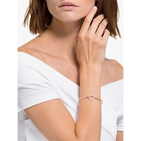 shop for Swarovski Crystal Infinity and Heart Bangle, Silver/Rose Gold at Shopo