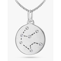 shop for IBB Personalised Aquarius Star Sign Disc Pendant Necklace, Silver at Shopo