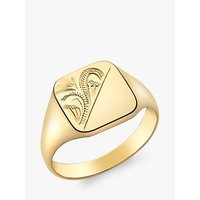 shop for IBB Personalised 9ct Gold Unisex Half Square Signet Ring, Gold at Shopo